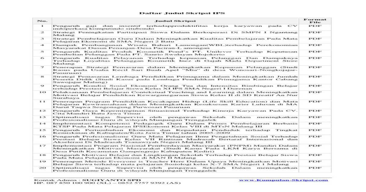 Judul Semua Skripsi Pdf Document