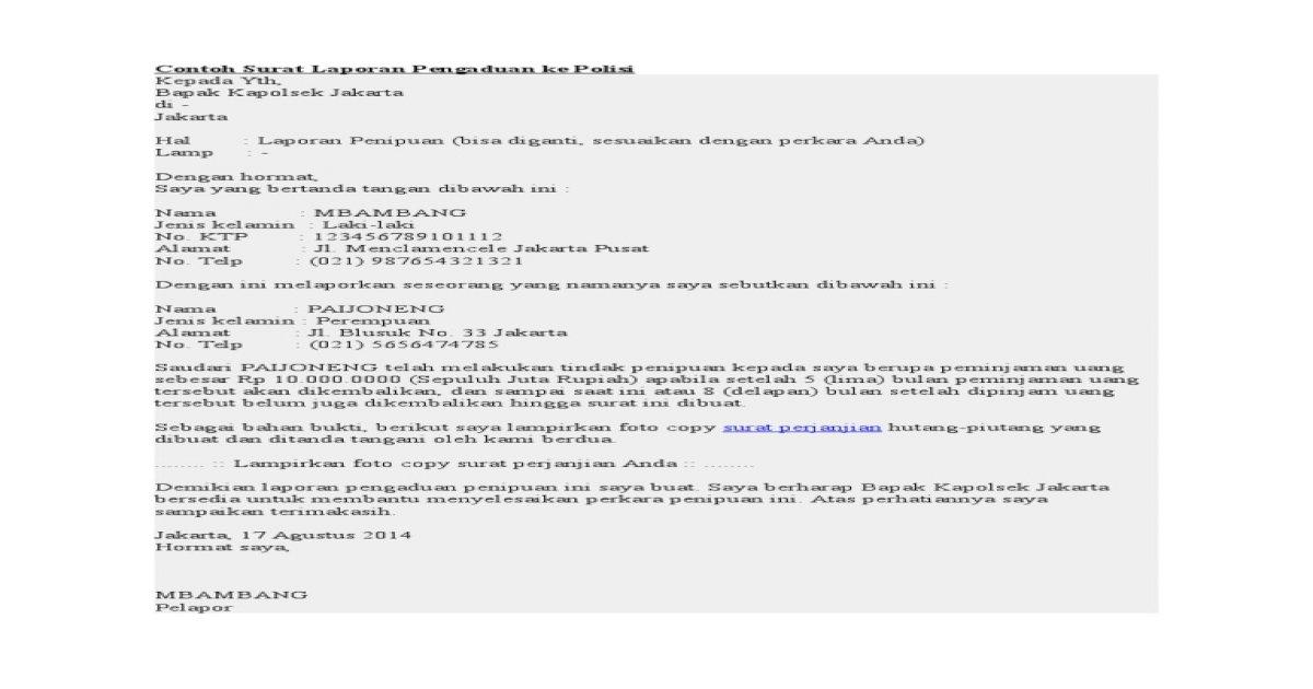 Contoh Surat Pelaporan Pdf Document