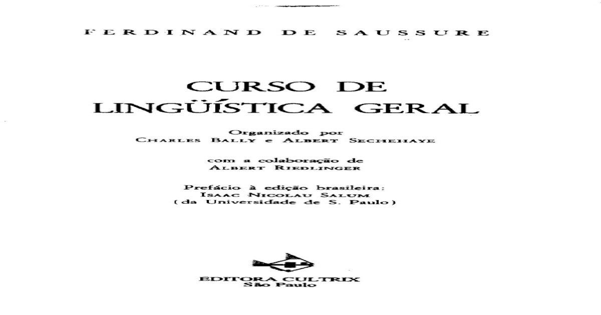 LINGUISTICA BAIXAR SAUSSURE DE GERAL CURSO