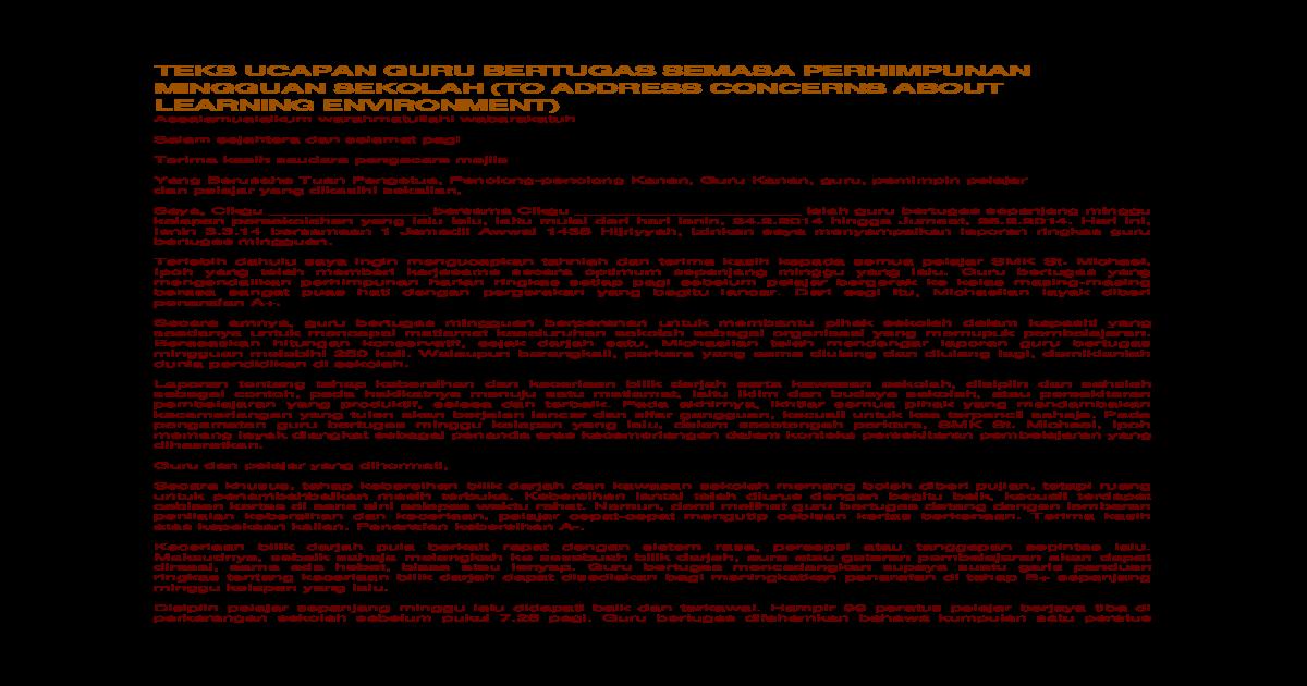Teks Ucapan Guru Bertugas Semasa Perhimpunan Mingguan Sekolah Docx Document