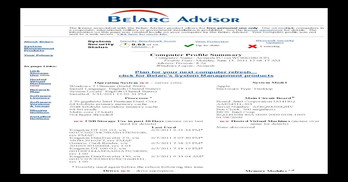 Belarc Advisor Computer Profile - [PDF Document]