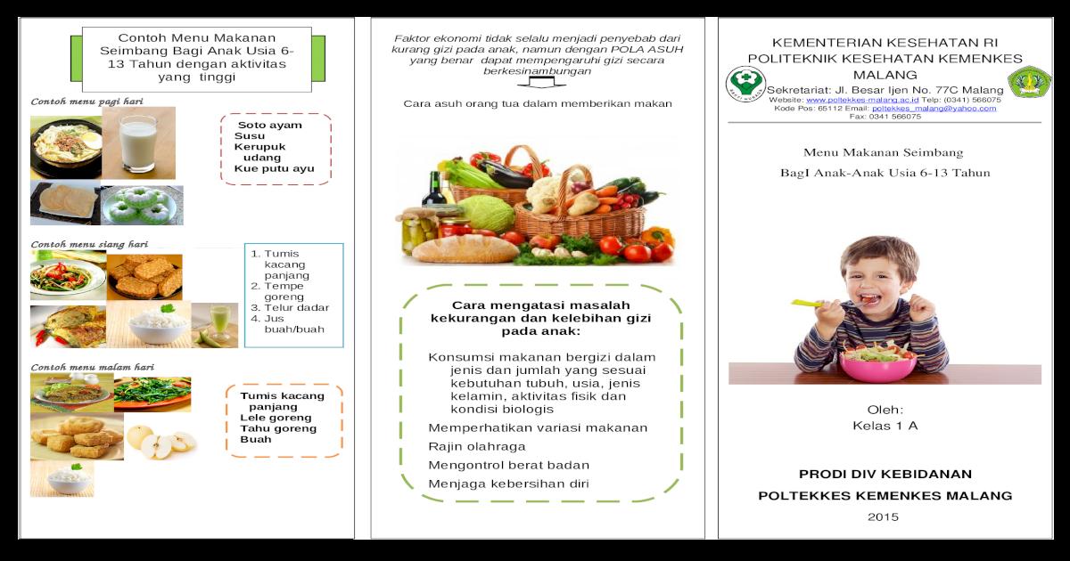 Leaflet Penyuluhan Gizi Seimbang Anak Doc Document