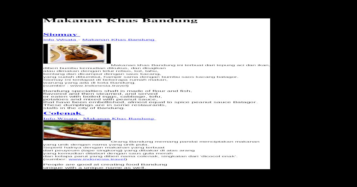 Makanan Khas Bandung Docx Document