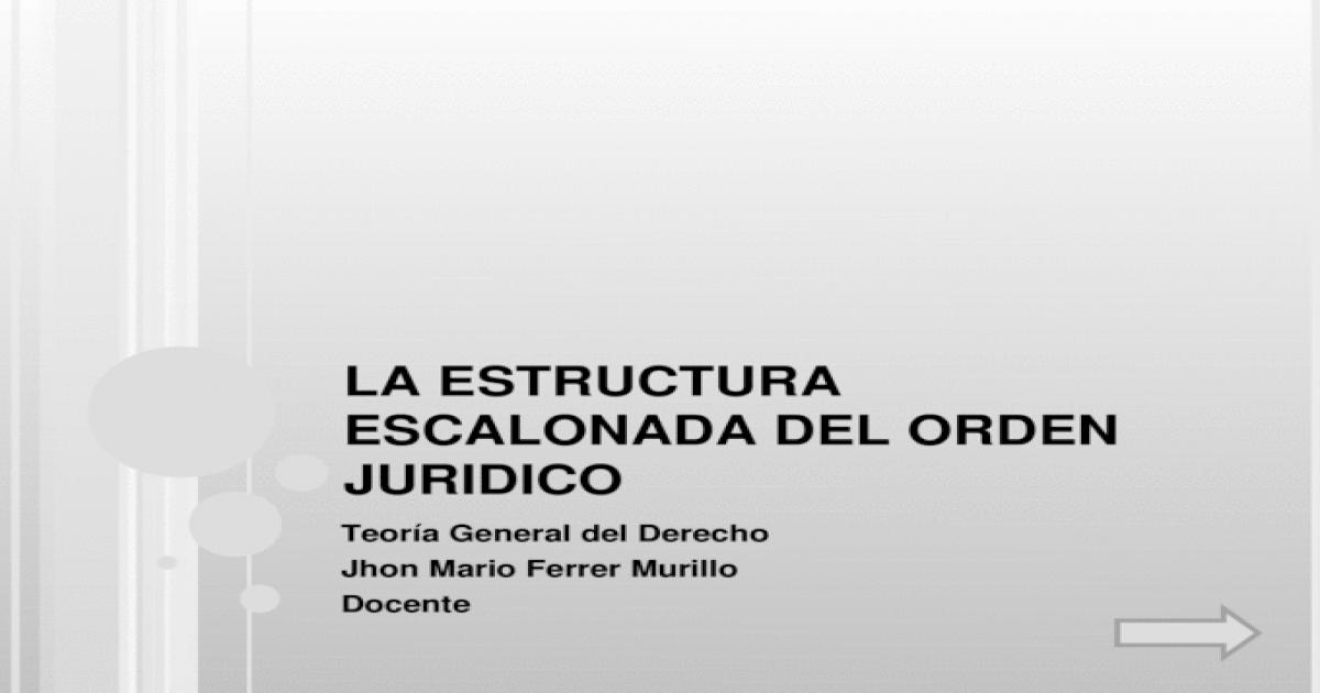 La Estructura Escalonada Del Orden Juridico Pp Ppt