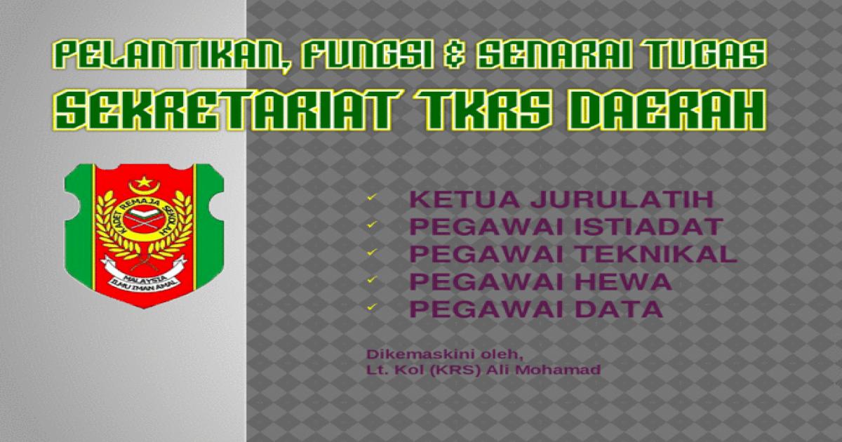 Pelantikan Fungsi Senarai Tugas Sekretariat Tkrs Daerah Pptx Powerpoint
