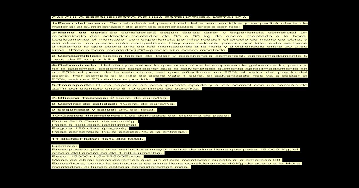 Clculo Presupuesto De Una Estructura Metlica Doc Document