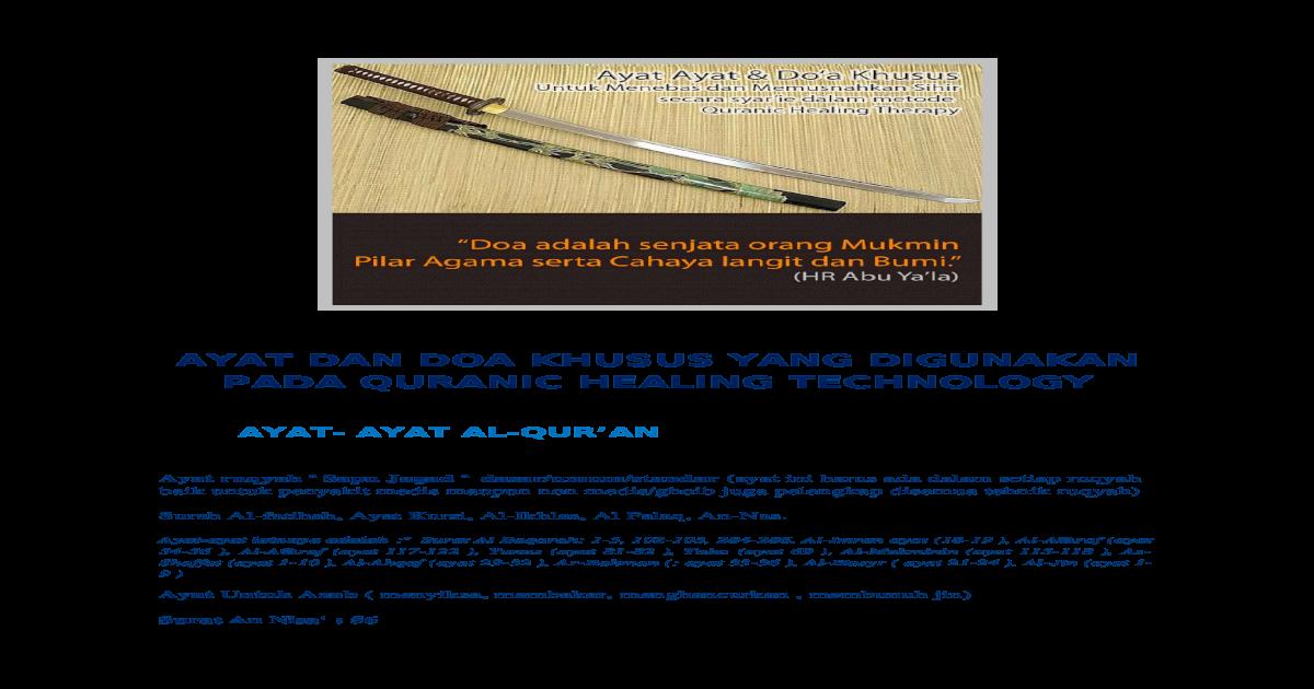 Ayat Ayat Ruqyah Khusus Docx Document