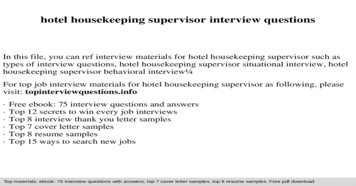 Hotel housekeeping supervisor interview questions - [PPTX