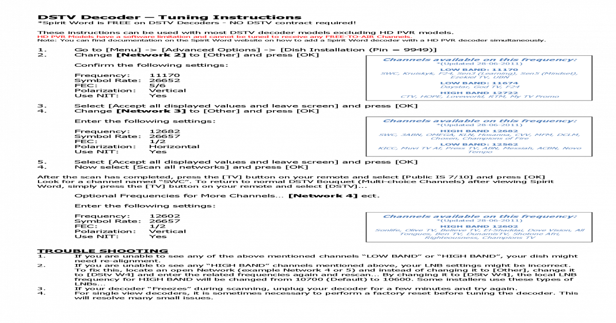 DSTV IS710 - Decoder Settings - [PDF Document]