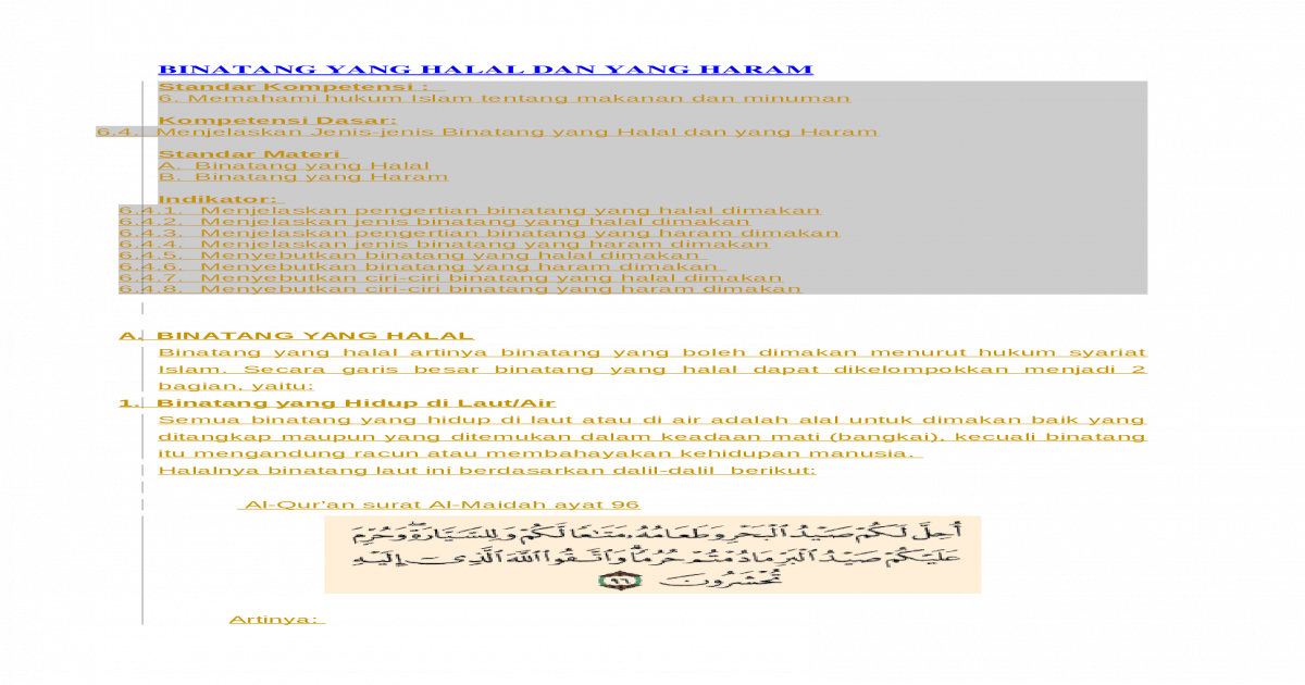 Binatang Yang Halal Dan Yang Haram Docx Document