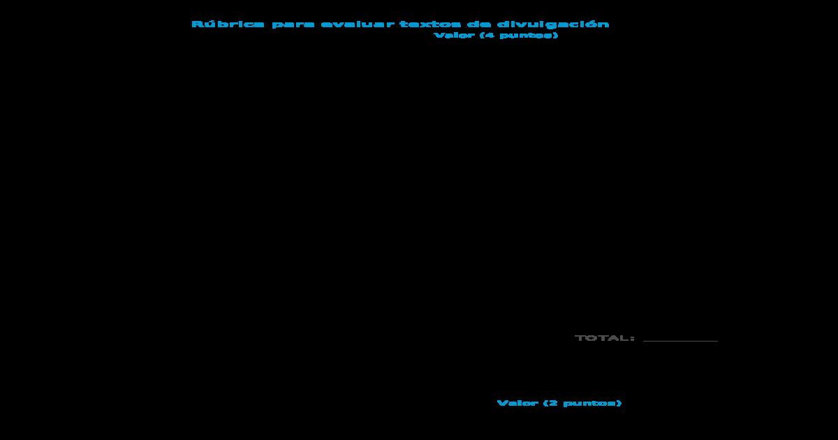 Rbrica Para Evaluar Textos De Divulgacin Docx Document