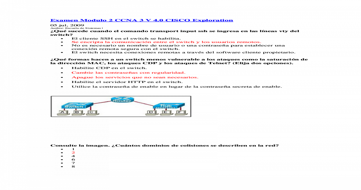 Examen Modulo 2 Ccna 3 V 4 Docx Document