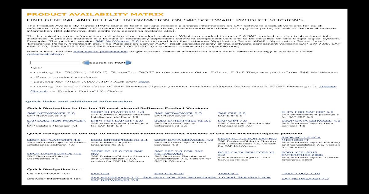 SAP Support Portal - Product Availability Matrix - [PDF