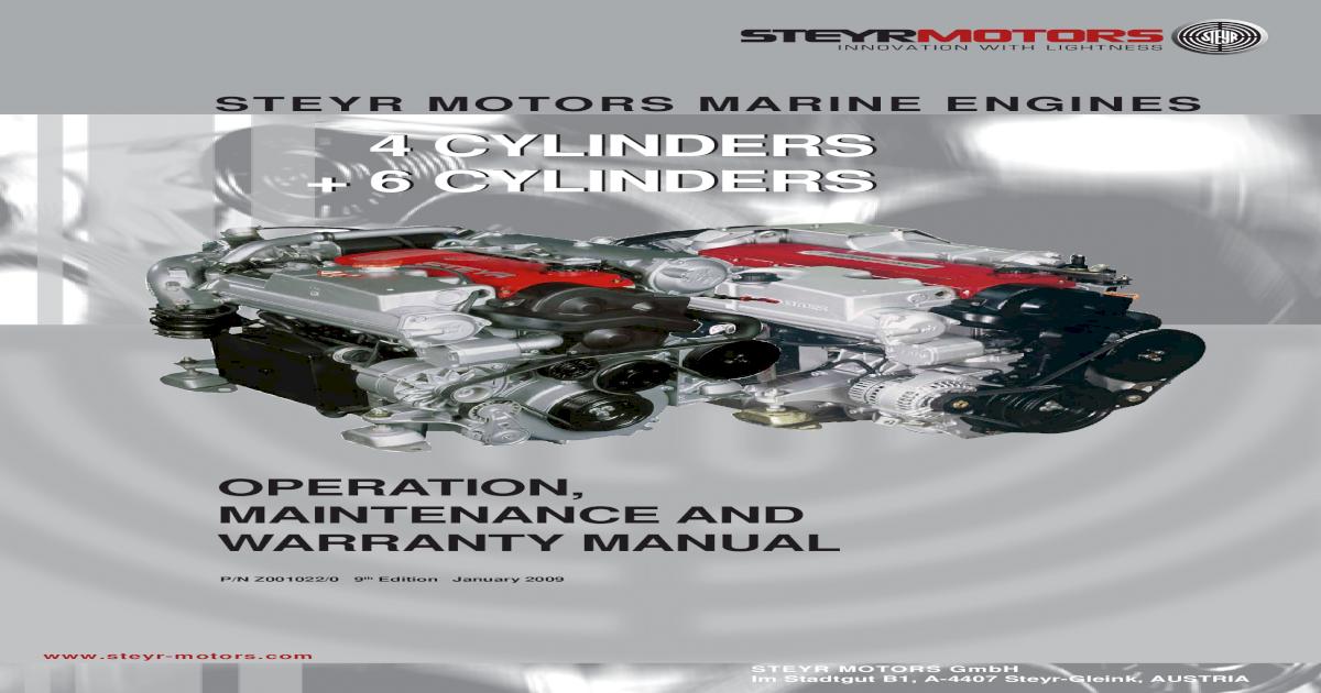 STEYR MOTORS 4 /& 6 CYLINDER MARINE BOAT ENGINE WORKSHOP SERVICE REPAIR MANUAL
