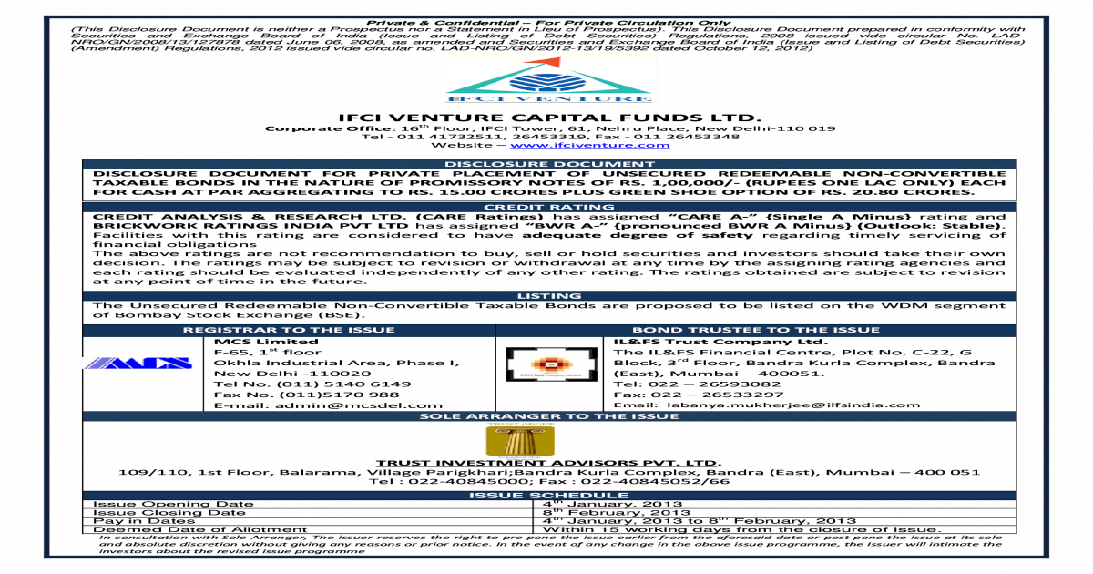 IFCI VENTURE CAPITAL FUNDS LTD  - and Exchange Board of