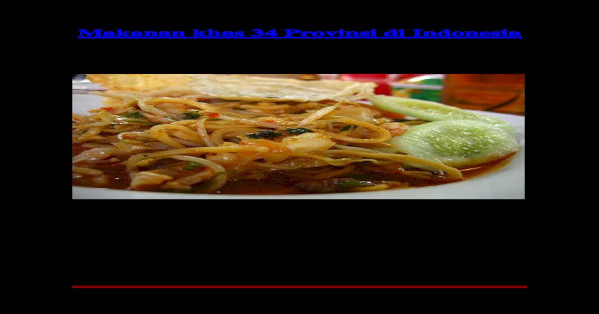Makanan Khas 34 Provinsi Di Indonesia Doc Document