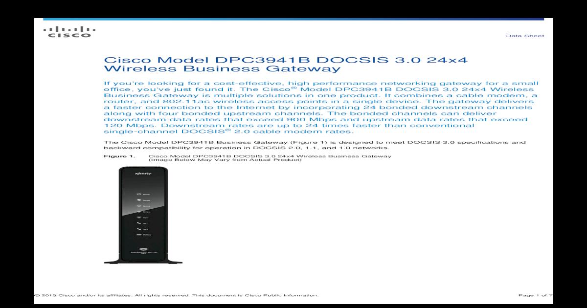 Cisco Model DPC3941B DOCSIS 3 0 24x4 Wireless Model DPC3941B