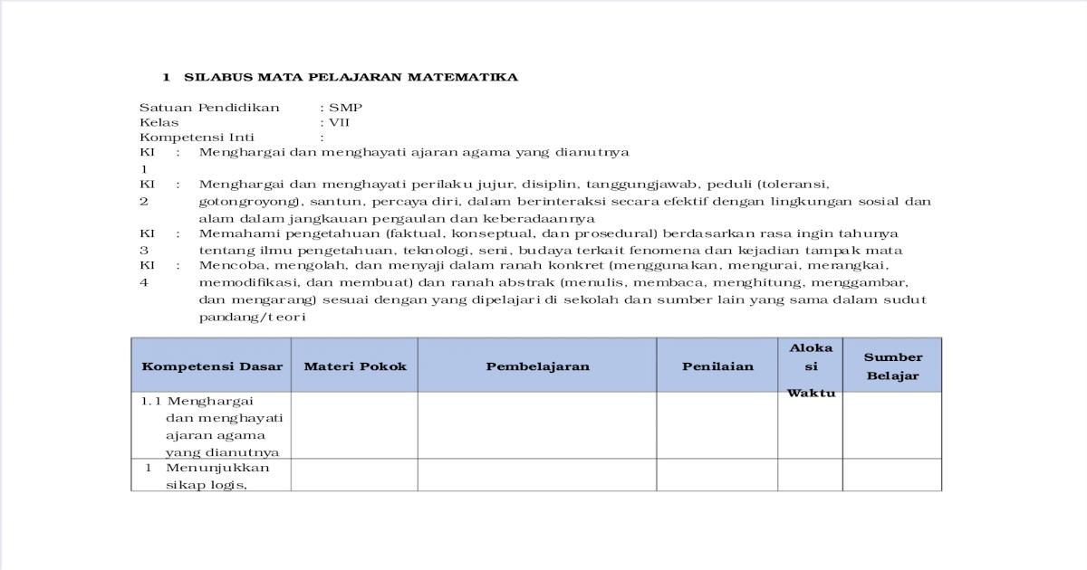 Silabus Matematika Kelas Vii Pdf Document