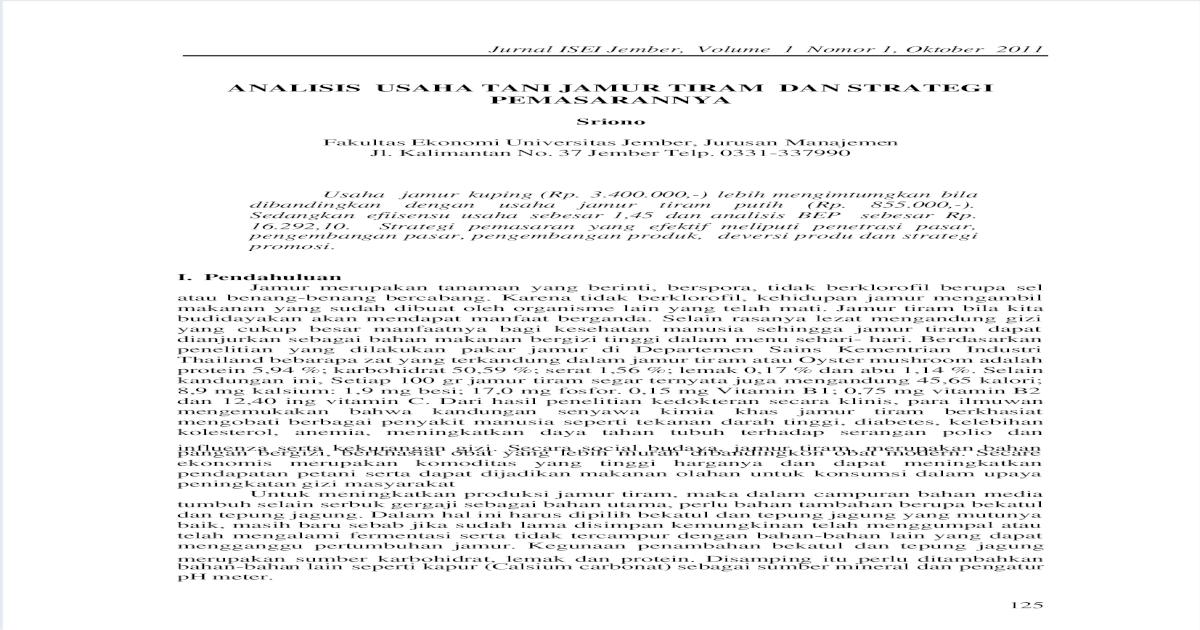 Analisis Usaha Tani Jamur Tiram Dan Strategi Pemasarannya Pdf Document