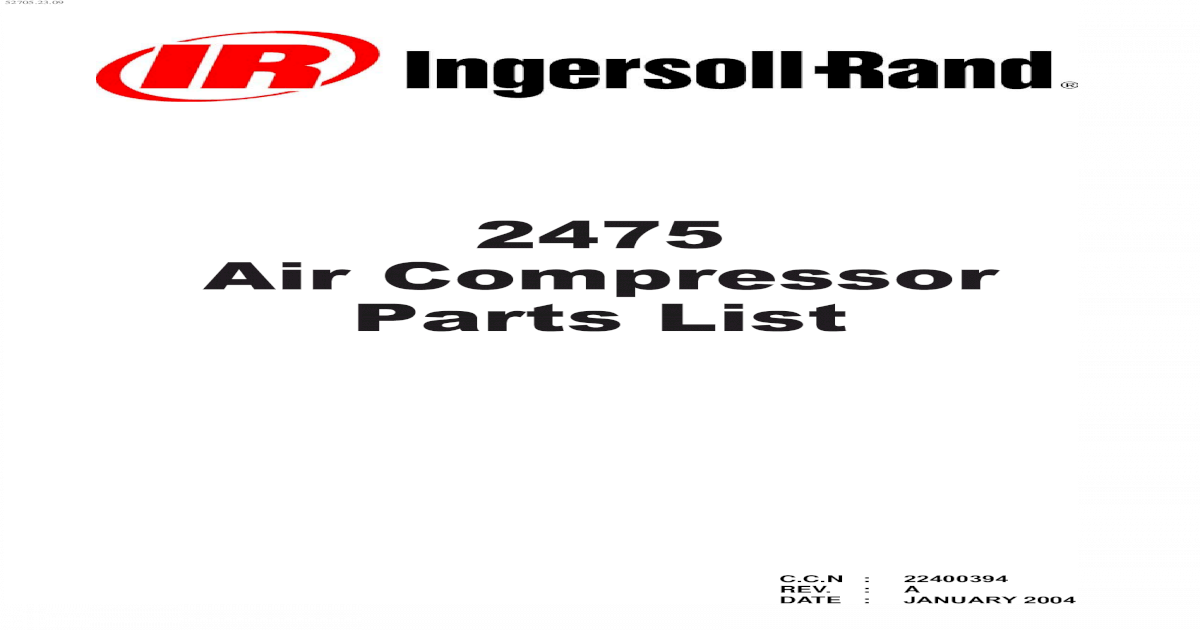 2475 Air Compressor Parts List - Ingersoll Rand Products Air ... Ingersoll Rand T Wiring Diagram Kawasaki Engine on
