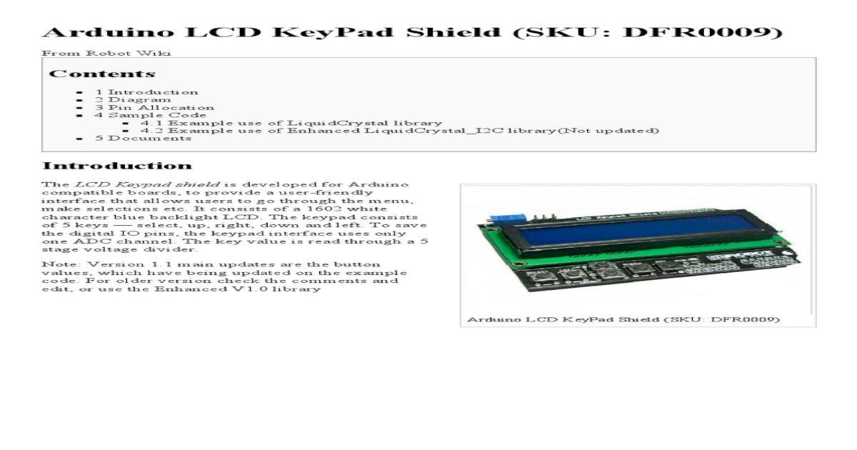 Arduino lcd keypad shield (sku: dfr0009) robot wiki | lcd keypad.