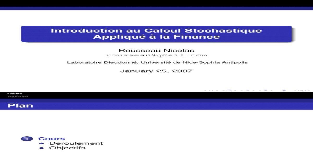 STOCHASTIQUE FINANCE TÉLÉCHARGER APPLIQUÉ LA AU INTRODUCTION À CALCUL