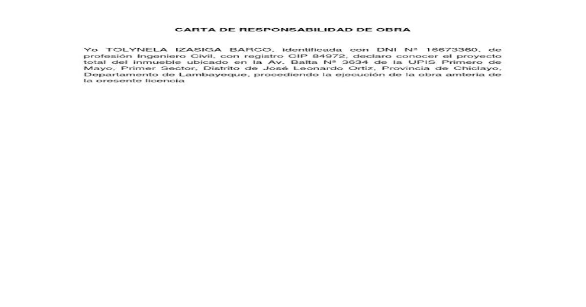 Carta De Responsabilidad De Obra Pdf Document