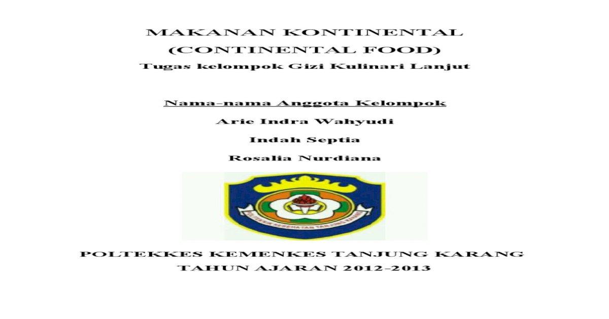 Makalah Makanan Kontinental Pdf Document