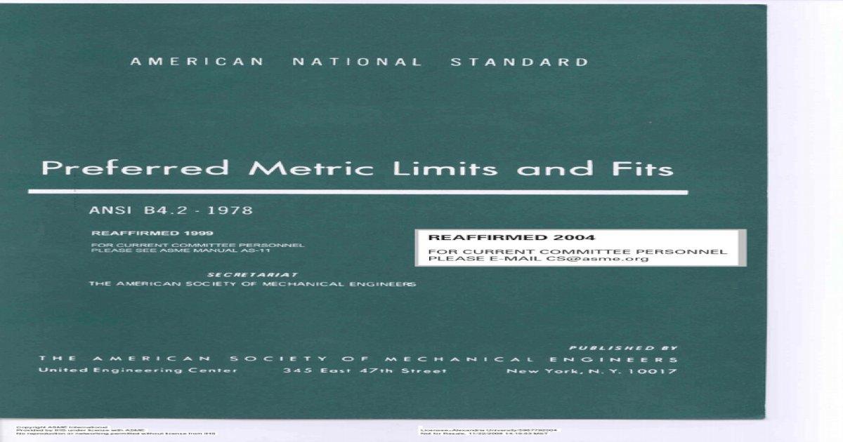 Ansi b4 2 - 1978 Preferred Metric Limits and Fits - [PDF