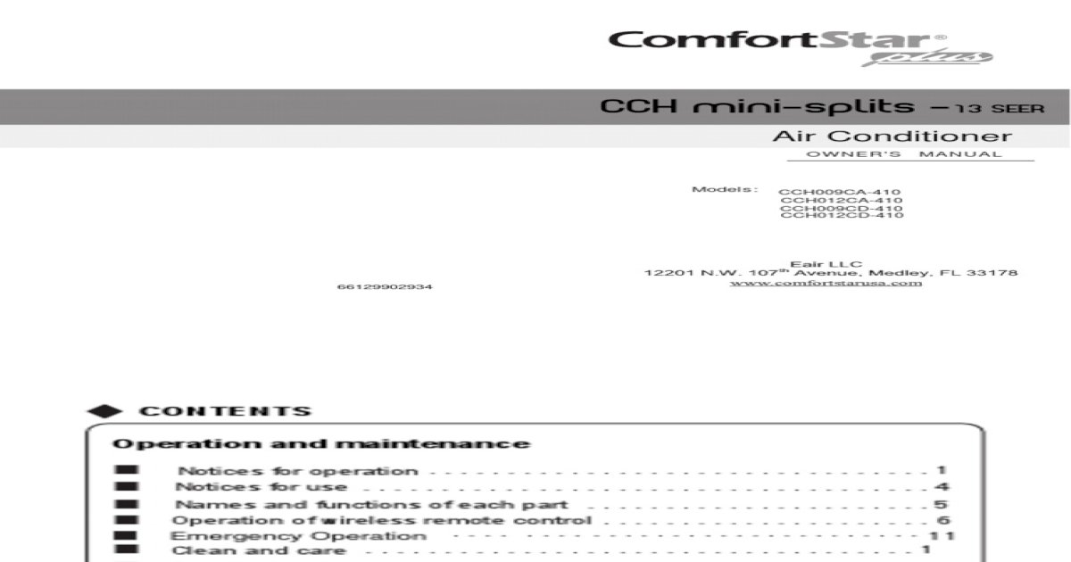 Comfortstar Cch012cd410 Owners Manual (1) - [PDF Doent] on