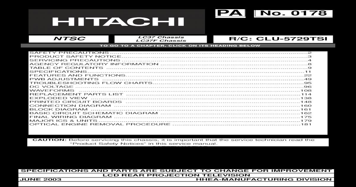Hitachi 50V500 Service Manual - [PDF Doent] on