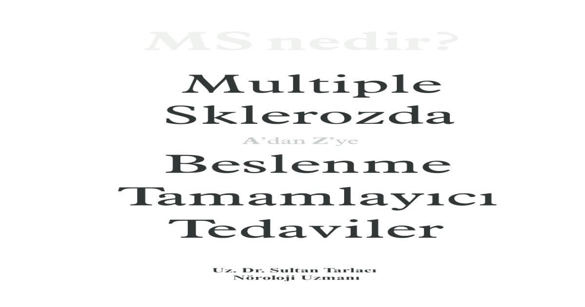 Ms Nedir Ve Alternatif Tedaviler Ki Kitap Birletirilmi Pdf