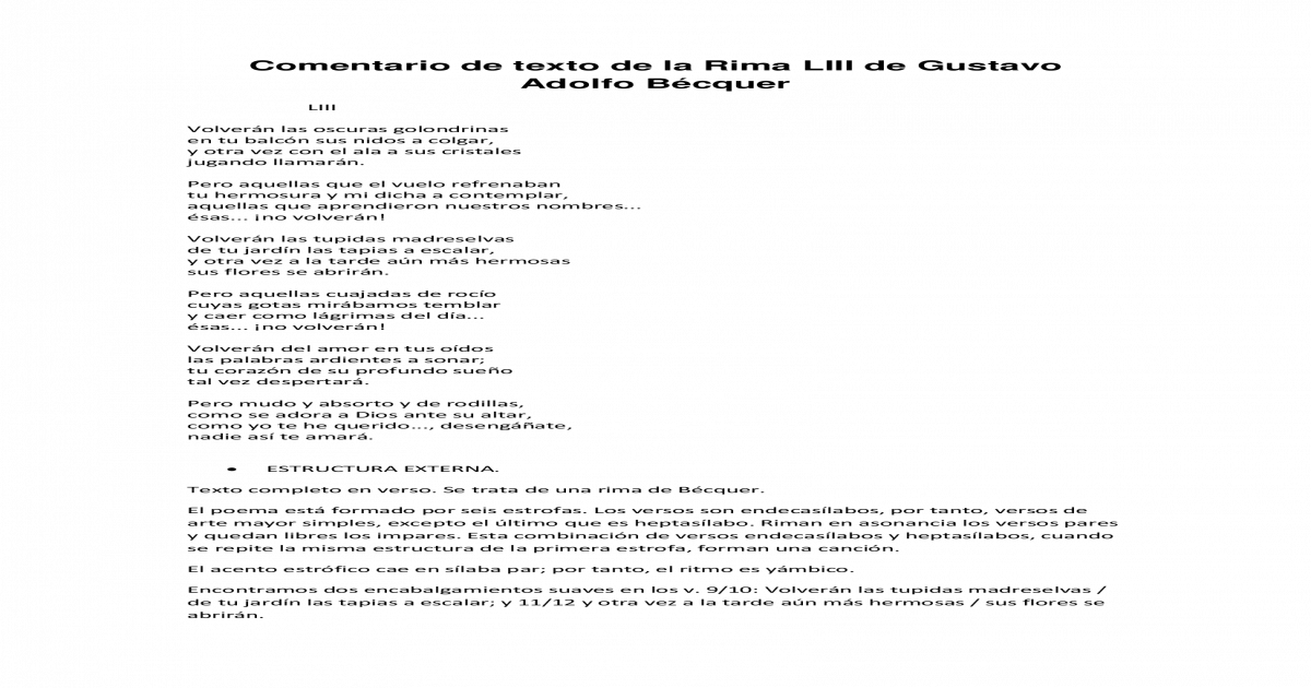 Comentario De Texto De La Rima Liii De Gustavo Adolfo Bcquer