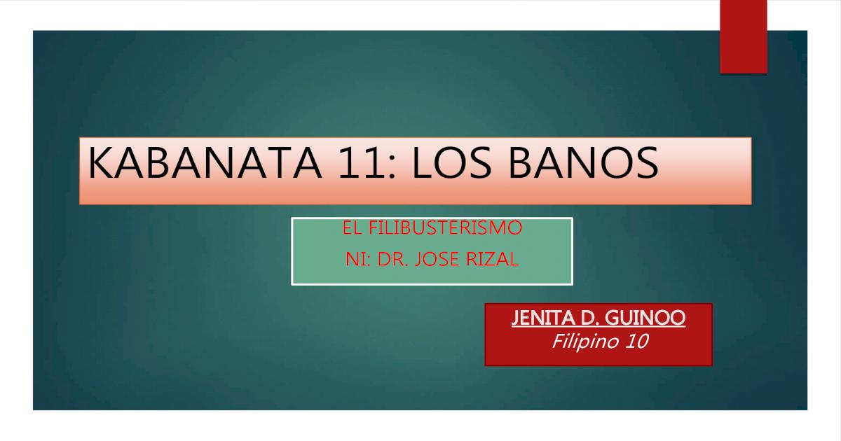 Kabanata 11, los banos (el filibusterismo) - [PDF Document]