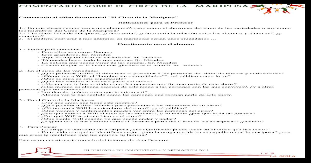 Comentario Circo De La Mariposa Pdf Document