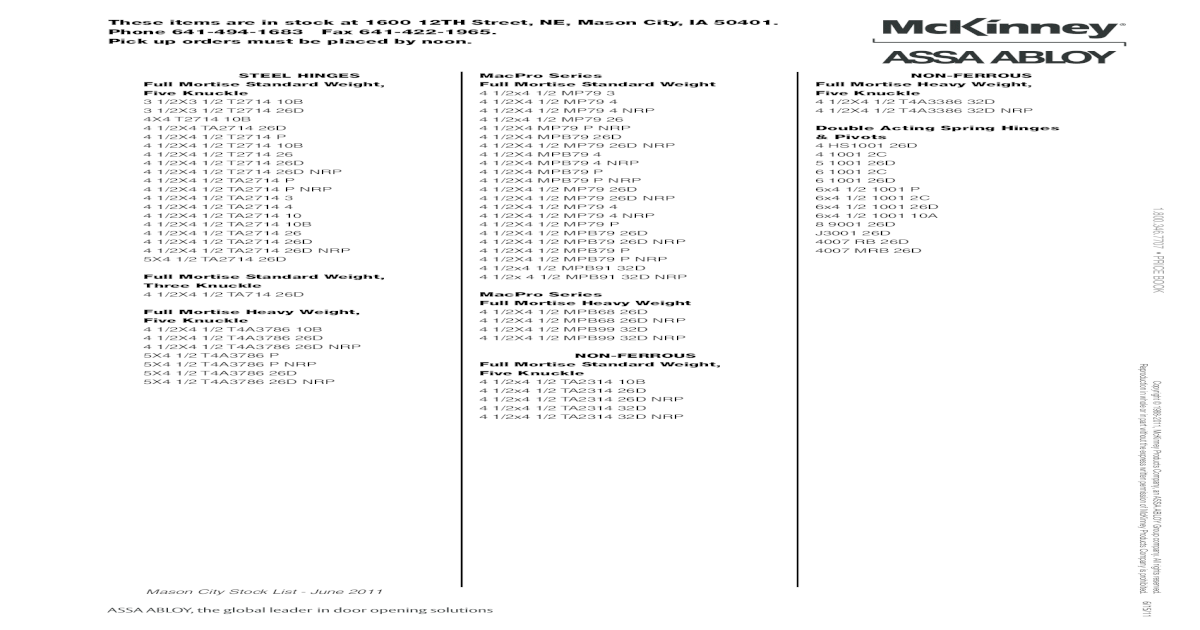 MCKINNEY TA2714 26D 55858 4-1//2 x 4-1//2 BALL BEARING SATIN CHROME HINGES 3 PACK