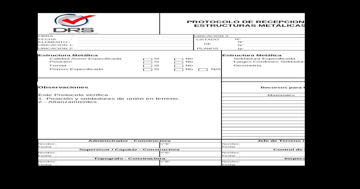 P 16 Montaje De Estructuras Metalicas Xls Document