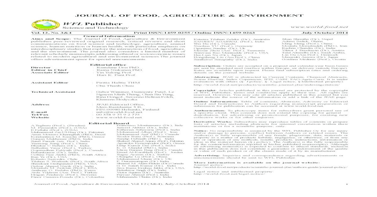 Journal Of Food Agriculture Environment Print Issn1459