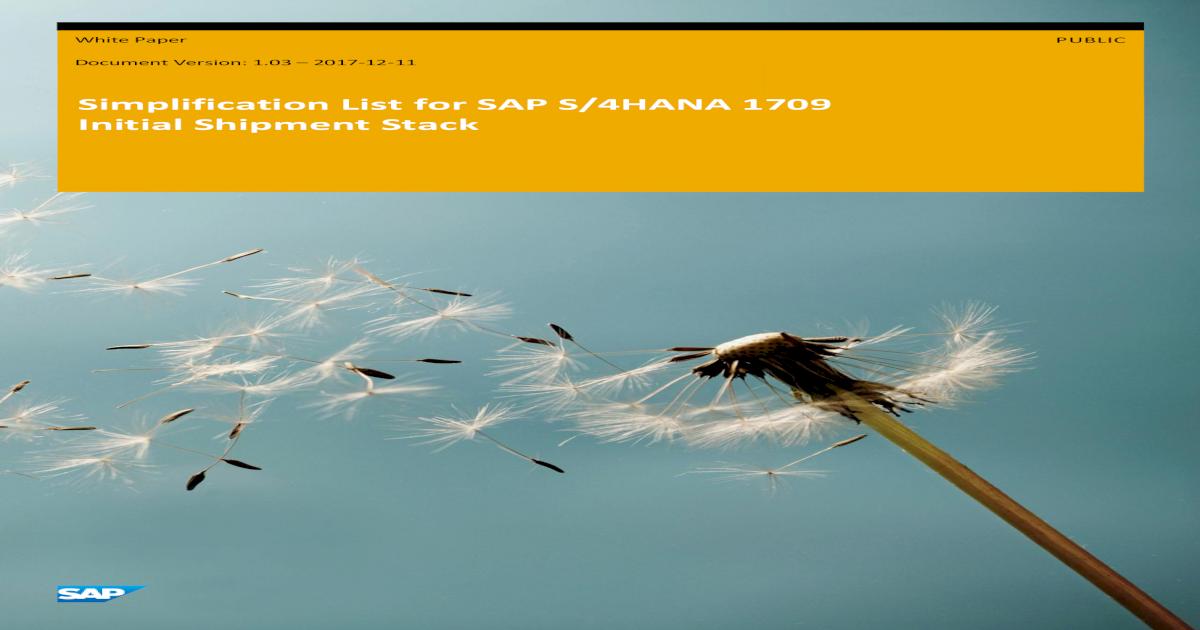 Simplification List for SAP S/4HANA 1709 Initial Shipment