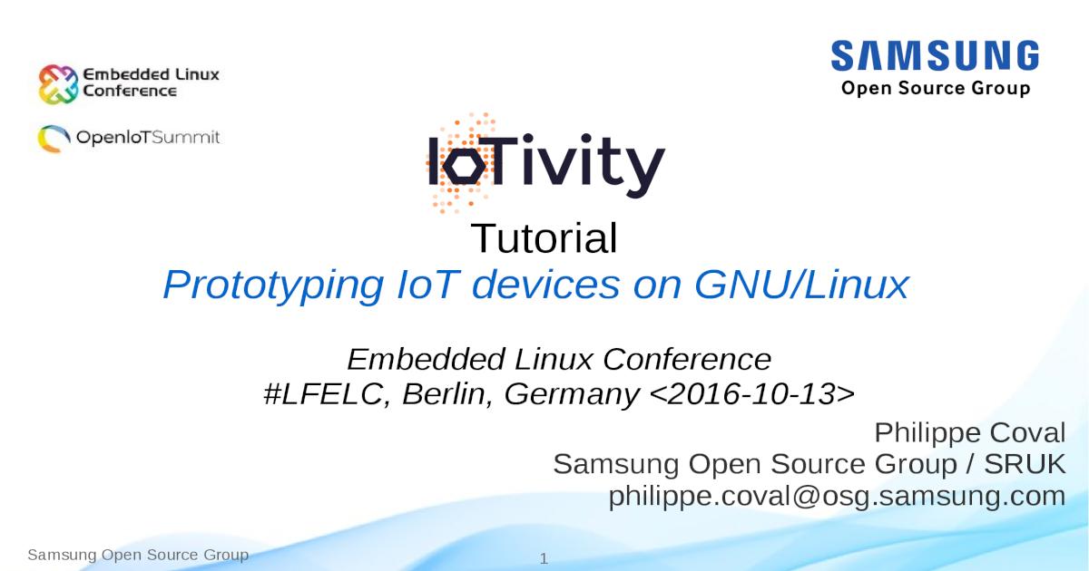 IoTivity Tutorial: Prototyping IoT Devices on GNU/Linux