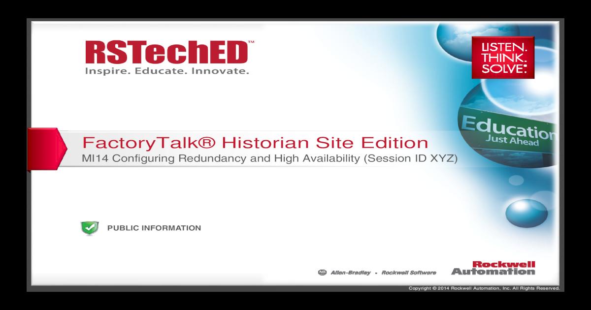 FactoryTalk Historian Site Edition: Configuring Redundancy