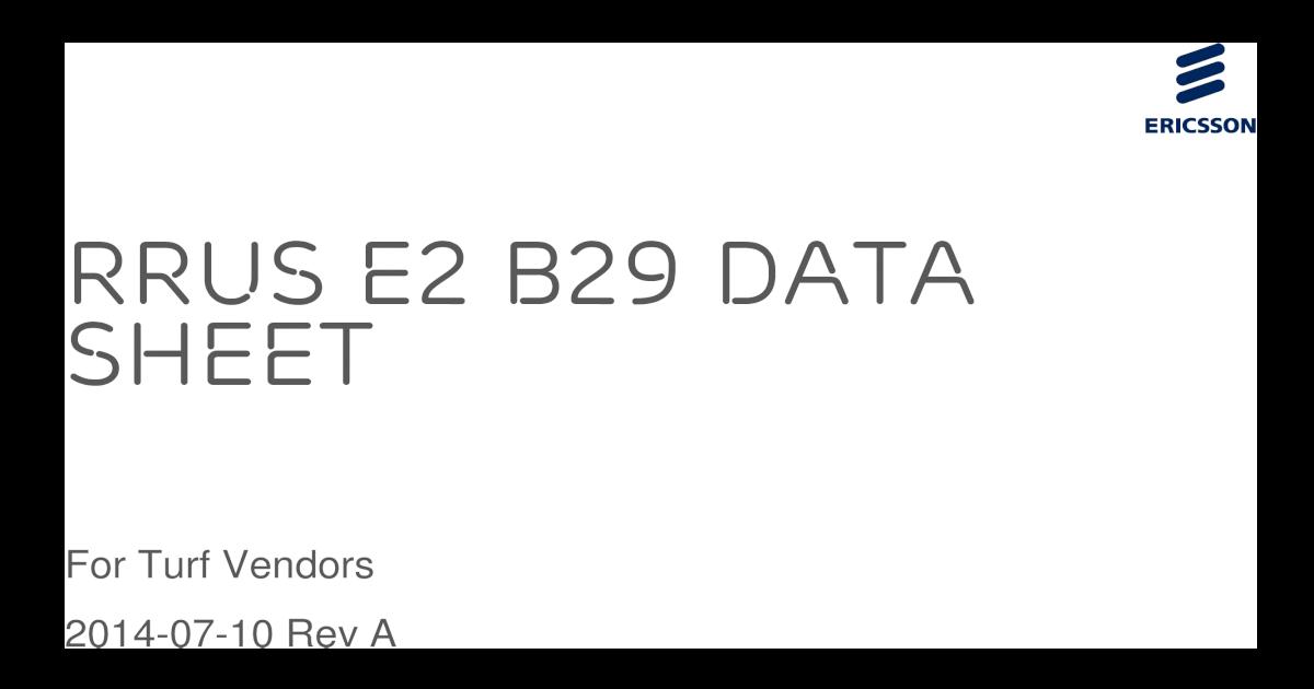 RRUS E2 B29 Data Sheet - DAGGER E2 for Turf Vendors
