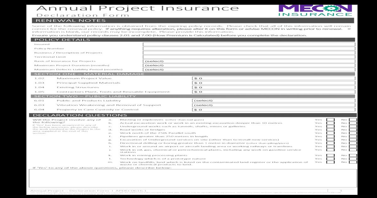 Insurance Declaration Form