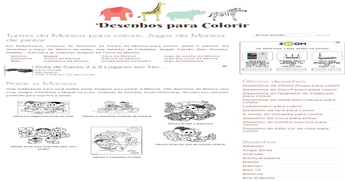Turma Da Monica Para Colorir Jogos Da Monica De Pintar Pdf