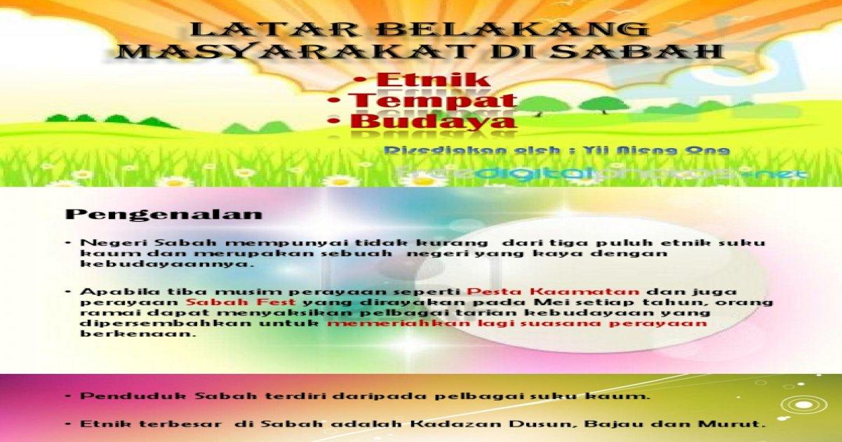 K1 Latar Belakang Masyarakat Di Sabah Pdf Document