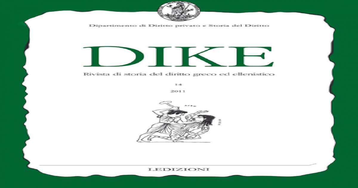 Dike Rivista Di Storia Del Diritto Greco Ed Ellenistico