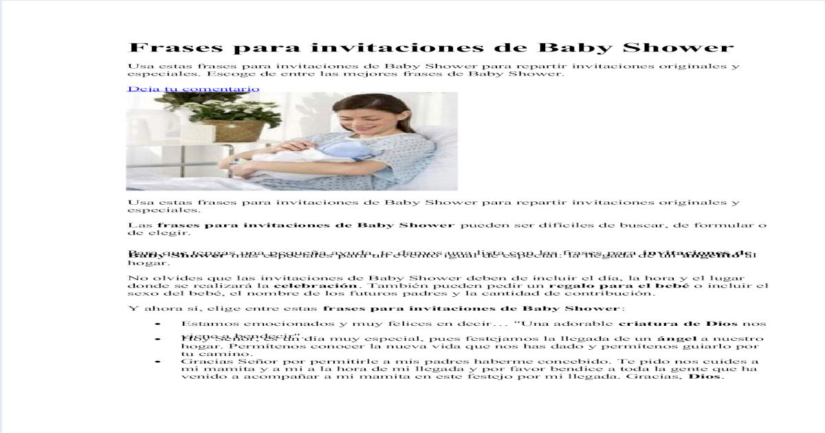 Frases Para Invitaciones De Baby Shower Pdf Document