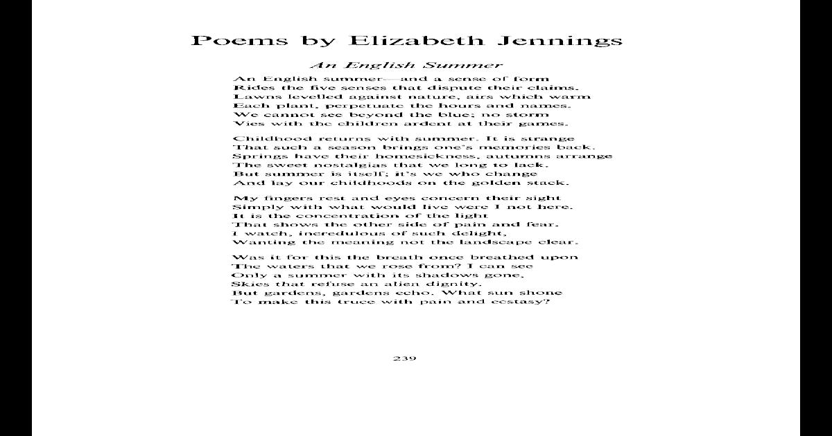 Poems By Elizabeth Jennings Pdf Document