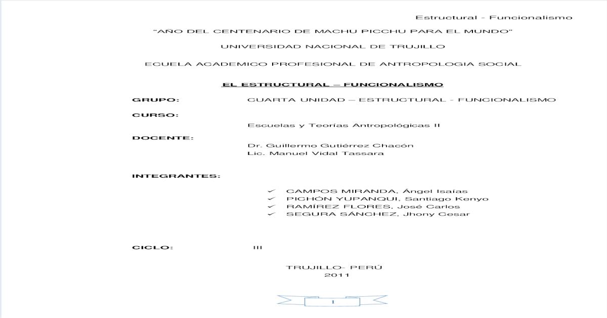 Informe Estructural Funcionalismo Pdf Document