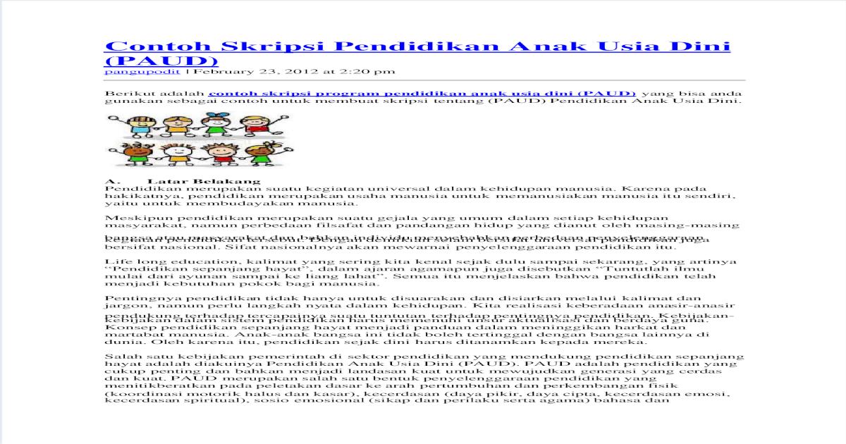 Contoh Skripsi Pendidikan Anak Usia Dini Pdf Document